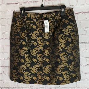 NWT Loft Brocade Skirt black gold
